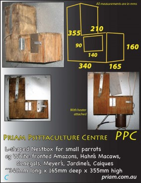 L-shaped nestbox for small parrots.
