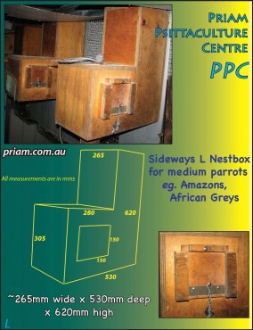 L-shaped nestbox for medium parrots -'sideways'.